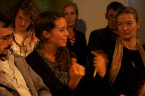 guests lecturing during #WB: quoting Walter Benjamin, Paris, die Hauptstadt des XIX. Jahrhunderts during the interactive performance in the jewish theater of austria on October 7, 2010; photographer: lisa sperber